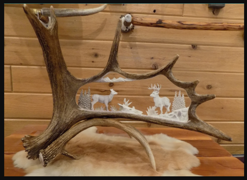 Whitetail Buck and Doe Antler Carving