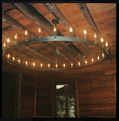 St. James Naples Steel Round Custom Chandelier, 30 Lights