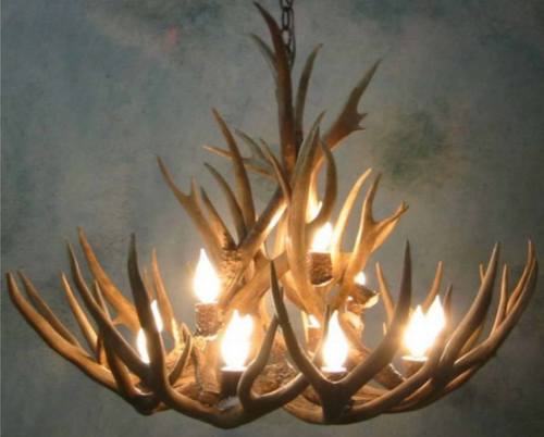 "Big Sky Deer Antler Chandelier, 42""Wide by 20""+ Tall, 12 Lights"