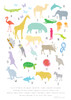 A to Z of Animals Art Print (Various Sizes)