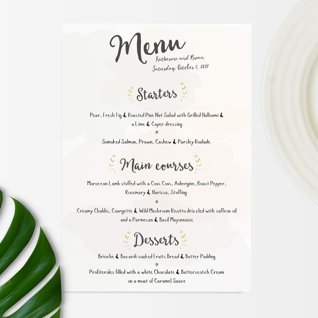 Wedding menu floral set holly francesca floral wedding invitation junglespirit Images