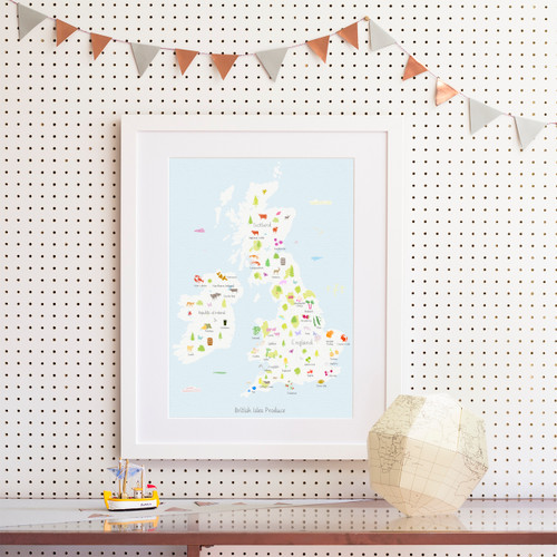 British Isles Produce Map Art Print (Various Sizes)