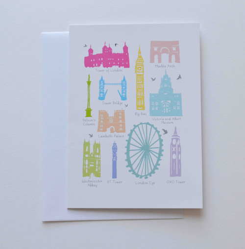 "Iconic Buildings of London 5x7"" Greeting Card"
