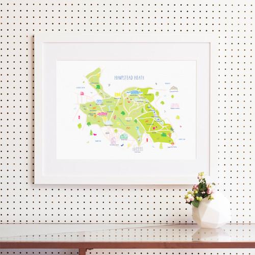 Map of Hampstead Heath Art Print (Various Sizes)