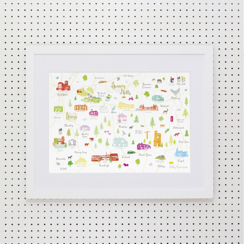 Map of Surrey Hills Art Print (Various Sizes)