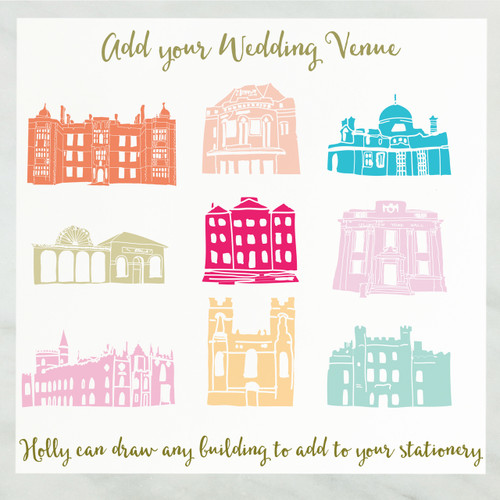 Add any Building to your bespoke wedding stationery.