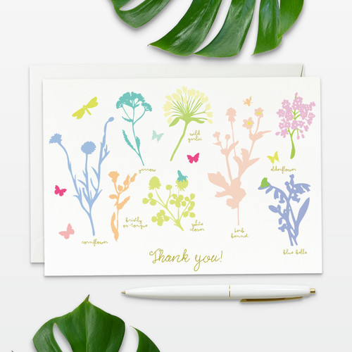 Floral inspired wedding thank you cards