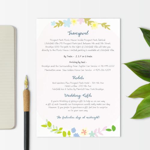 Wreath Useful Information Wedding Card