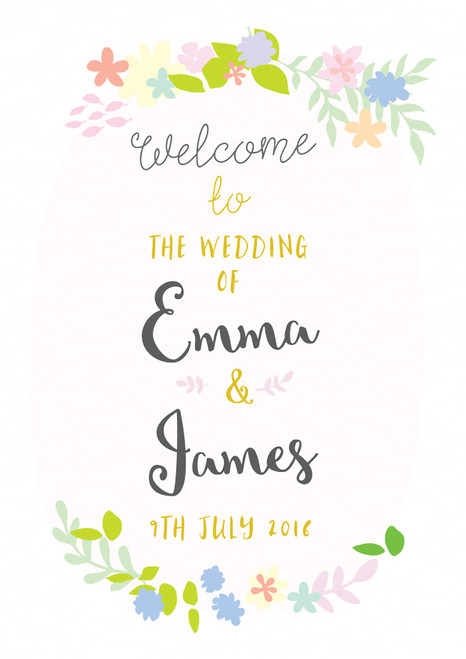 wedding welcome sign boho floral wreath summer