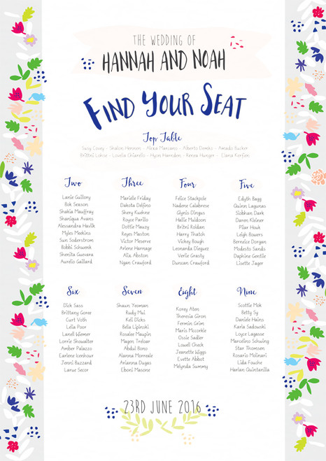 wedding day table seating plan folksy floral