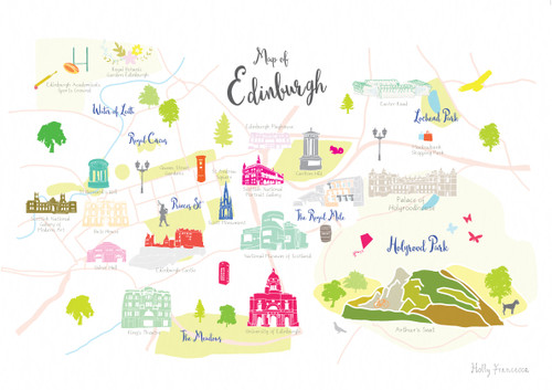 Map of Edinburgh Art Print Various Sizes Holly Francesca