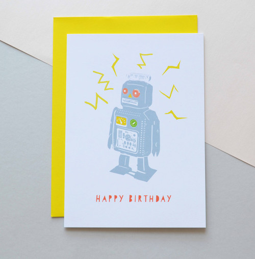 "Happy Birthday Robot 5x7"" Birthday Card"