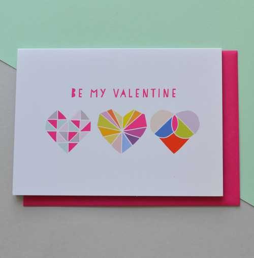 "Be My Valentine (Three Hearts) 5x7"" Greeting Card"