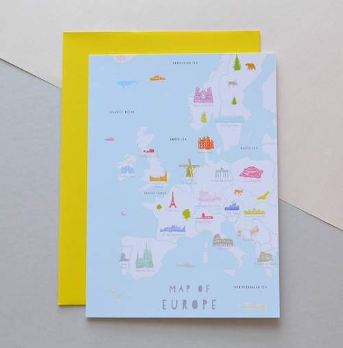 """Map of Europe 5x7"""" Greeting Card"""