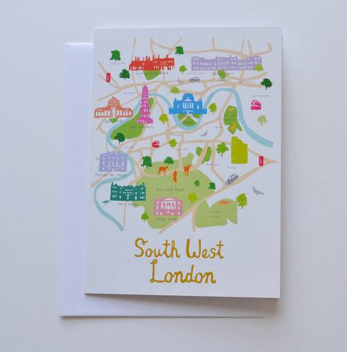 "Map of South West London 5x7"" Greeting Card"