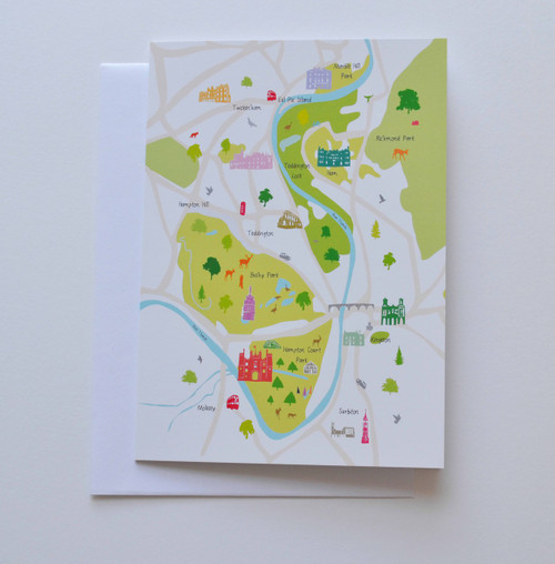 "Hampton Court & Surrounding Area Map 5x7"" Greeting Card"