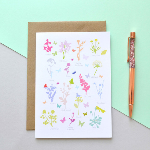 "British Wildflowers 5x7"" Greeting Card"