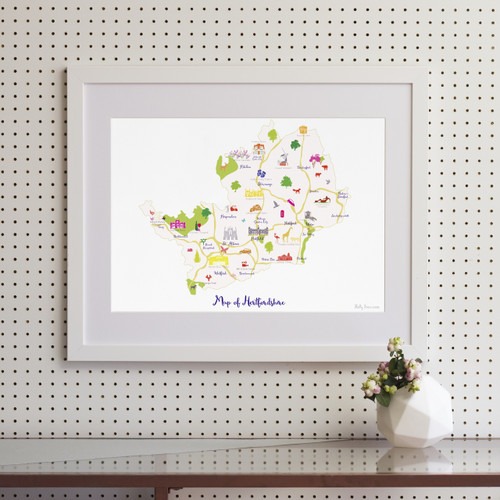 Map of Hertfordshire Art Print (Various Sizes)