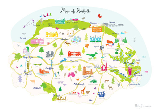 Map of Norfolk Art Print Various Sizes Holly Francesca