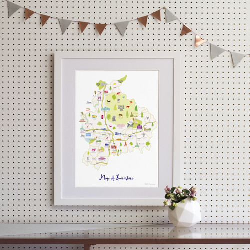 Map of Lancashire Art Print (Various Sizes)