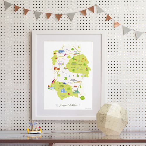Map of Wiltshire Art Print (Various Sizes)