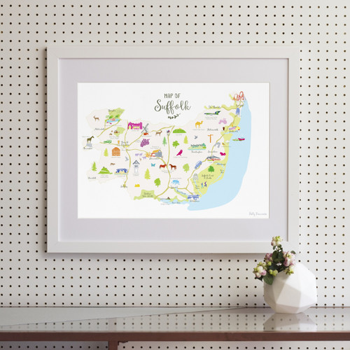 Map of Suffolk Art Print (Various Sizes)