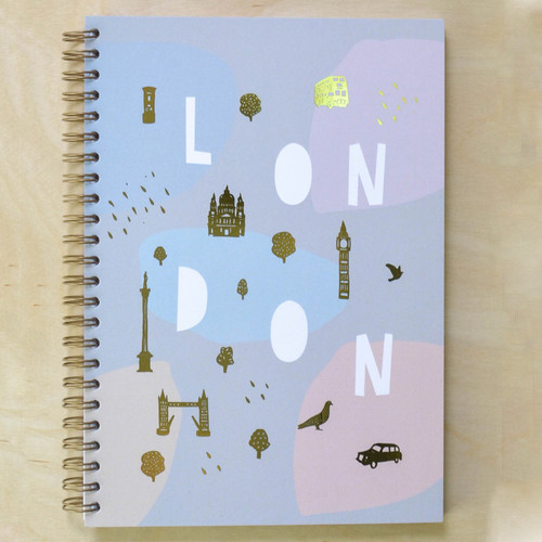 London Notebook - Spiral bound with Gold Foil