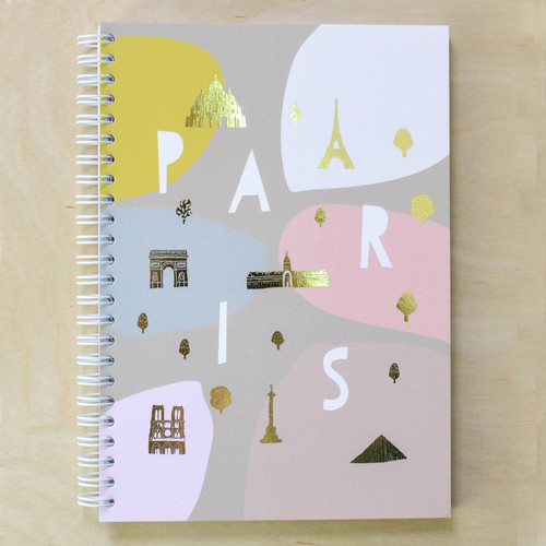 Paris Notebook - Spiral bound with Gold Foil