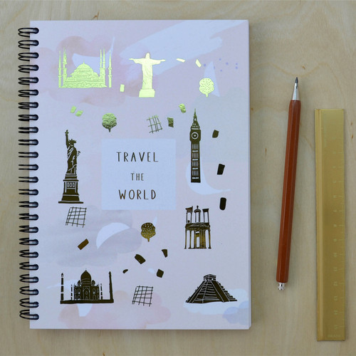Travel the World Notebook - Spiral bound with Gold Foil