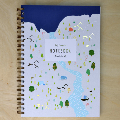 Scandi Mountain Notebook - Spiral bound with Gold Foil