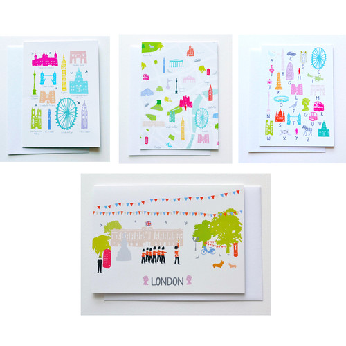 London Greeting Cards Pack of 8 with various illustrations