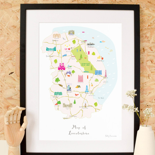 Map of Lincolnshire Art Print (Various Sizes)