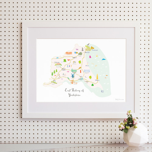 Map of East Yorkshire Art Print