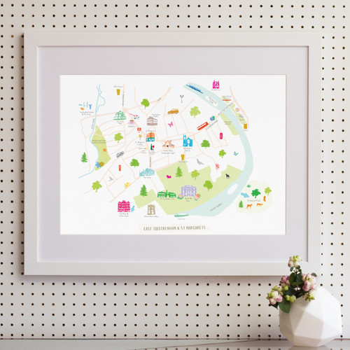 Map of St Margarets and East Twickenham Art Print