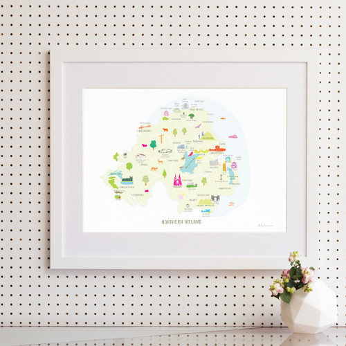 Map of Northern Ireland Art Print