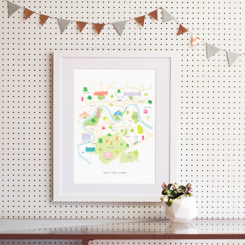 Map of South West London Art Print (Various Sizes)
