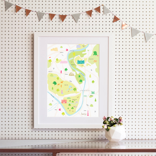 Map of Hampton Court and Surrounding Areas Art Print (Various Sizes)