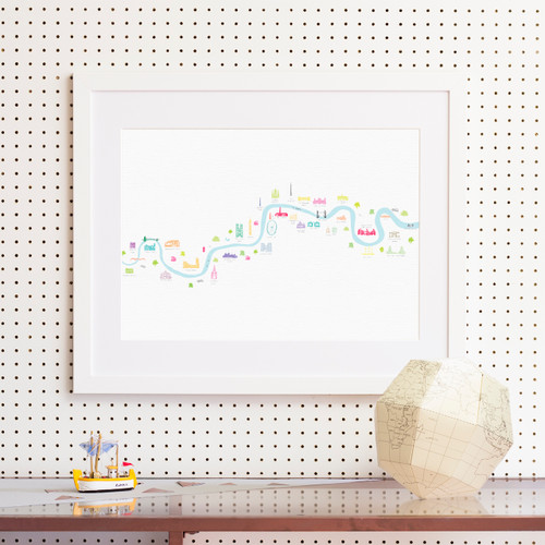 River Thames Thames Barrier to Barnes Bridge Art Print (Various Sizes)