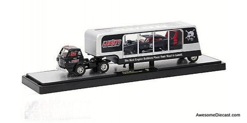M2 Machines 1:64 1970 Dodge L600 COE w/ Car Carrier Trailer and 1969 Dodge Charger Daytona Hemi, Lunati Engines