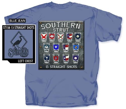 13 Straight State Shot Glasses Southern Strut Cotton Short Sleeve T Shirt