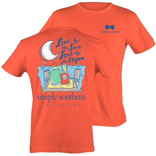 Simply Southern Live By The Sun Love By The Moon w Boy & Girl Cotton Tee Shirt