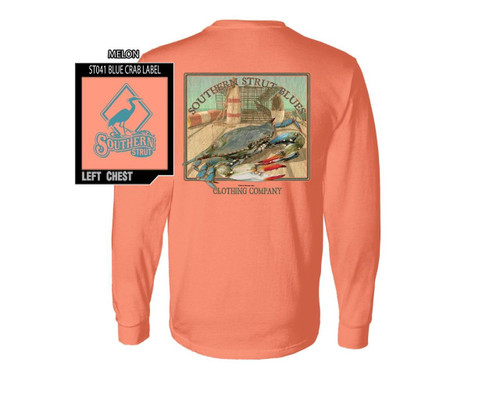 Southern Strut Atlantic Blue Crab Trap Comfort Colors Cotton Long Sleeve T Shirt