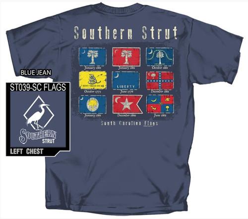 Southern Strut Historic Flags of SC South Carolina Cotton Short Sleeve T Shirt