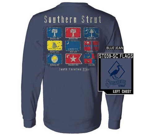 Southern Strut Historical South Carolina Flags Cotton Long Sleeve T Shirt