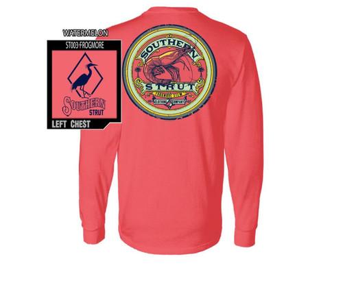 Southern Strut Frogmore SC Stew Shrimp Comfort Colors Cotton Long Sleeve T Shirt