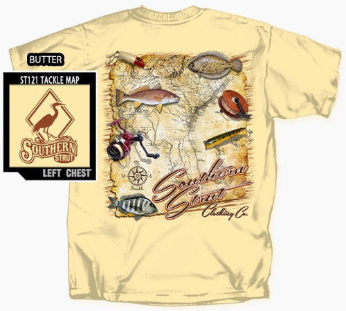 Southern Strut Fishing Tackle On Map of South East Cotton Short Sleeve T Shirt