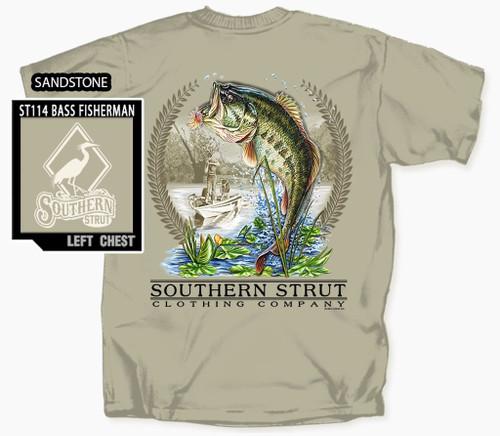 Southern Strut Largemouth Bass Fisherman Cotton Short Sleeve T Shirt