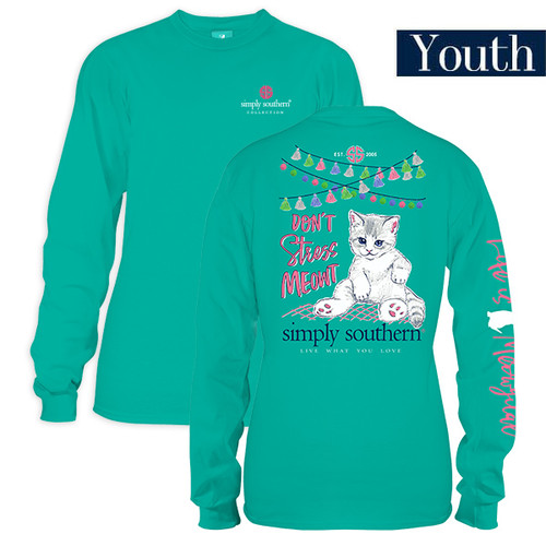 Youth Don't Stress Meowt Long Sleeve Simply Southern Tee Shirt