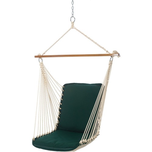 Pawley's Island Forest Green Cushioned Single Swing Hanging Chair