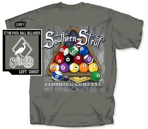 Billiards Pool Rack Up Southern Strut Cotton Short Sleeve T Shirt